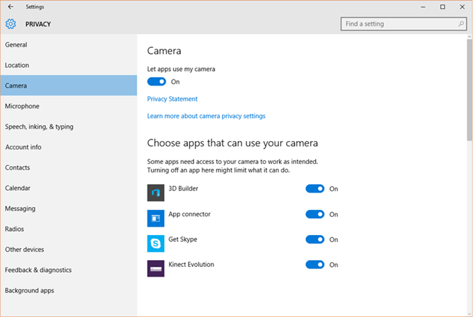 Kinect Store App - Camera Settings