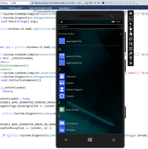 Application Running on Mobile Device