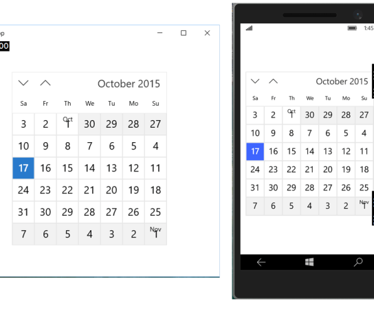 How to create a Calendar View in Universal Windows App.
