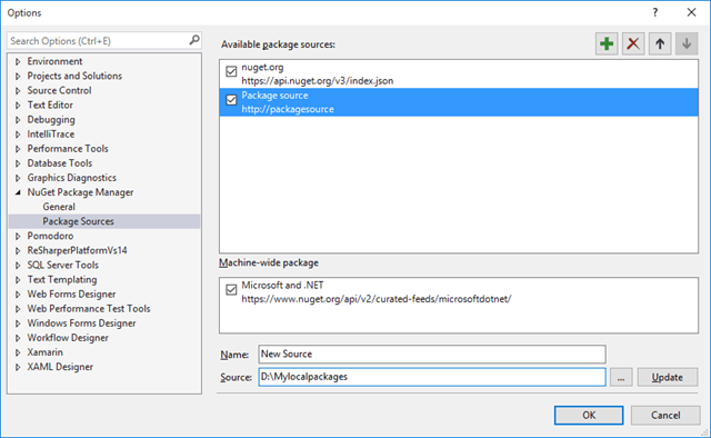 Add New Source for Nuget Packages