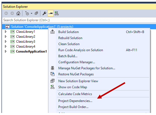 How to identify the project dependencies in Visual Studio ? - Daily