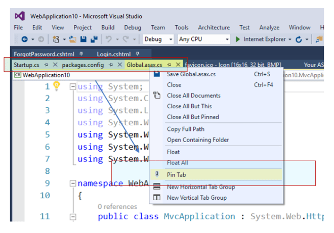 Did you know- You can drag & drop multiple tabs or even pin / unpin them together in Visual Studio ?
