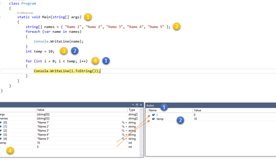Difference between Autos and Locals Window in Visual Studio