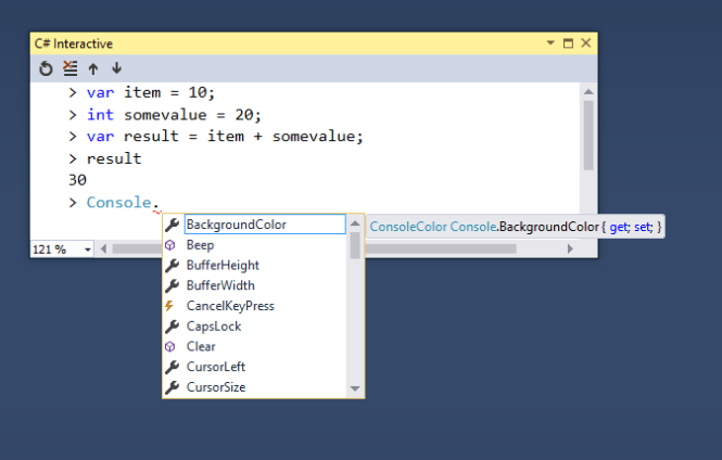 Intellisense support in C# Interactive Window