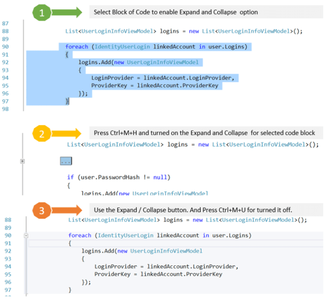 Expand and Collapse Code Blocks on the fly in Visual Studio