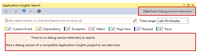 Searching telemetry data for the debug session in Visual Studio