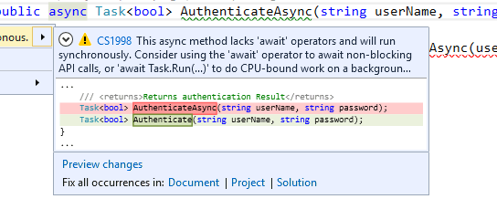 Using light bulb action to refactor asynchronous method to synchronous – Visual Studio 2015
