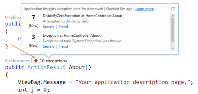 Using CodeLens to display the Application Insights Exception Telemetry