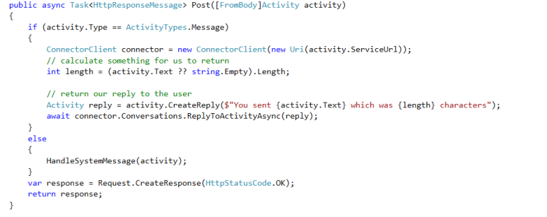 Bot Application - Message Controller