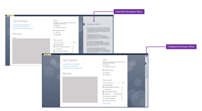 Expand and Collapsed Developer News in Visual Studio 2017
