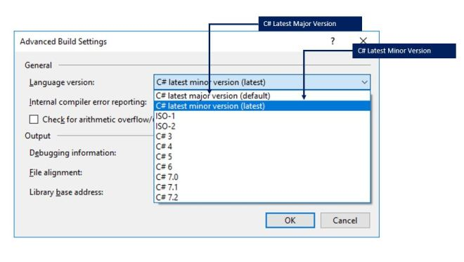 Choosing the C# Language latest version (minor release ) in