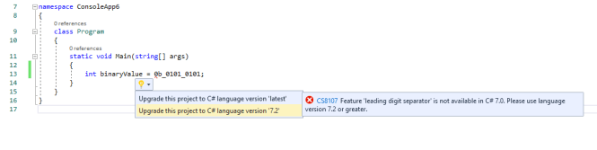 Upgrade project's language version : Upgrade Language Version using Quick Action