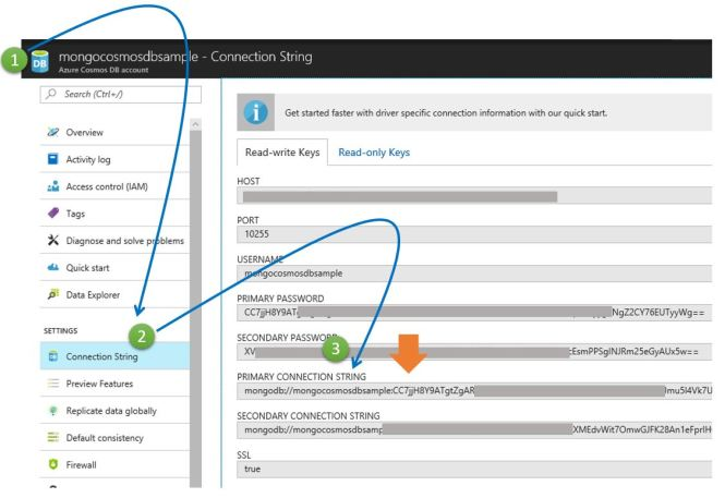 Obtaining Connection String for Azure Cosmos DB