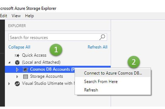 Connecting Azure Cosmos DB with Azure Storage Explorer by using Connection String