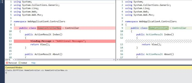 Compare files in Visual Studio IDE using DiffFiles Tool