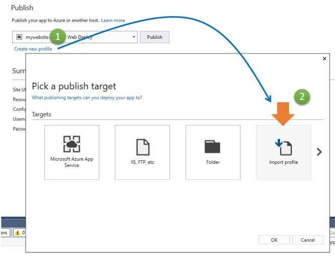 Getting Azure App Services Publishing Profile inside Visual