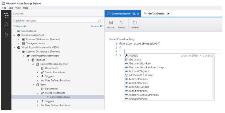 Azure Storage Explorer for Cosmos DB - Editor