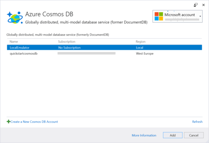 Visual Studio Connected Services for Cosmos DB