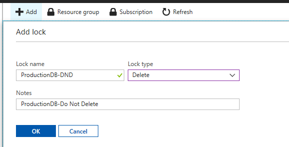 Lock Details for Azure Lock