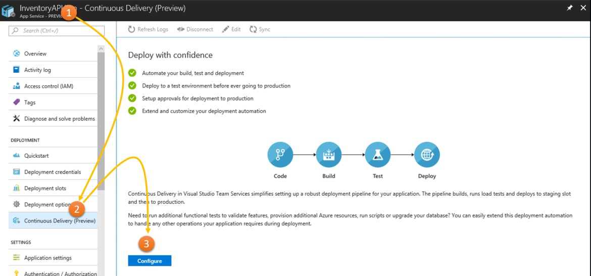 Setting up Continuous Delivery for Azure App Services from Azure Portal
