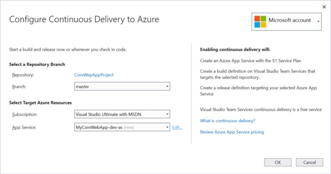 Configure Continuous Delivery to Azure from Visual Studio