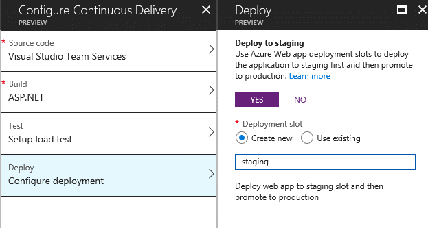 Continuous Delivery for Azure App Services from Azure Portal : Creating Deployment Slots