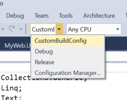 New Configuration Settings in Visual Studio