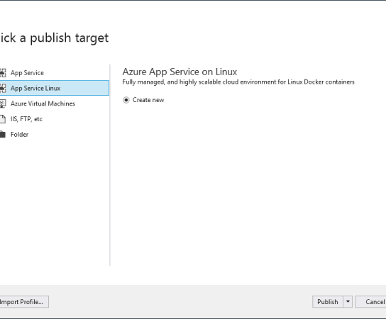 Directly deploy non-containerized application to Azure App Service on Linux From Visual Studio