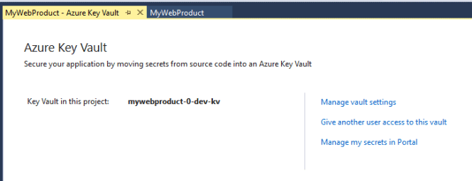 Azure Key Vault Option