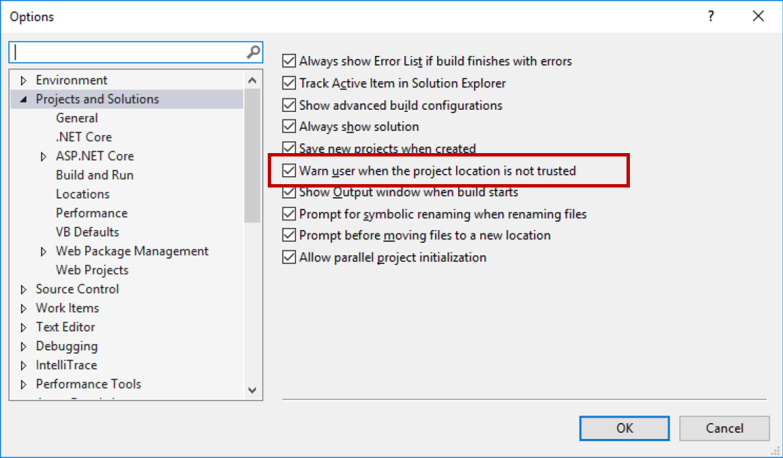 Warn User when the project location is not truseted