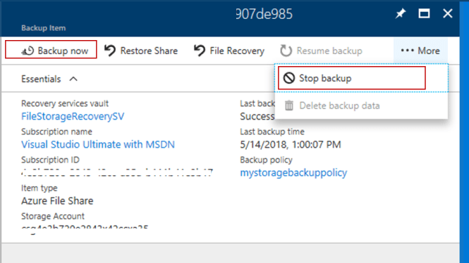 Azure Cloud Backup - Start and Stop from Detailed