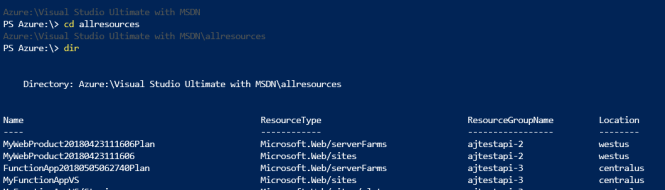 Azure Cloud Shell - PowerShell Command Example
