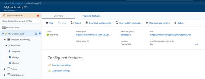 Azure Function in Azure Portal
