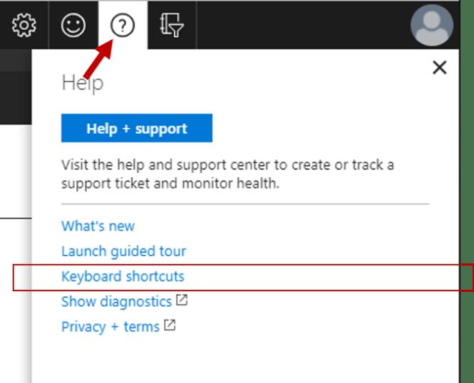 Azure Portal Keyboard Shortcuts - Access Keyboard Shortcuts