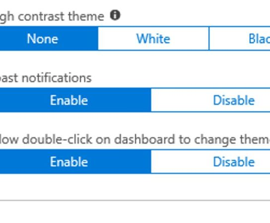 Double-click on Azure Portal dashboard to change the theme