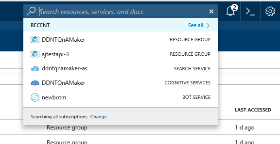 Access Azure Resources from Portal Search