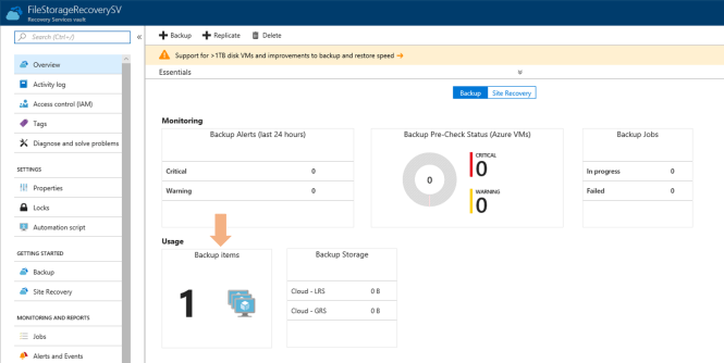 Azure cloud backup for Azure File Shares - Backup Dashboard