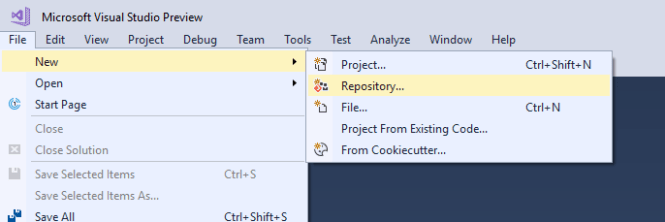 quickly create local git repository in Visual Studio - Daily