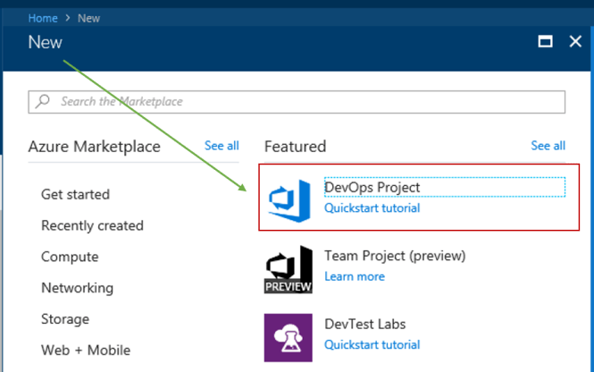 Create New Azure DevOps Project