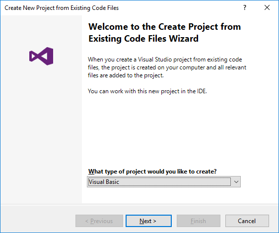 Create a Project from Existing Code Files - Wizard1