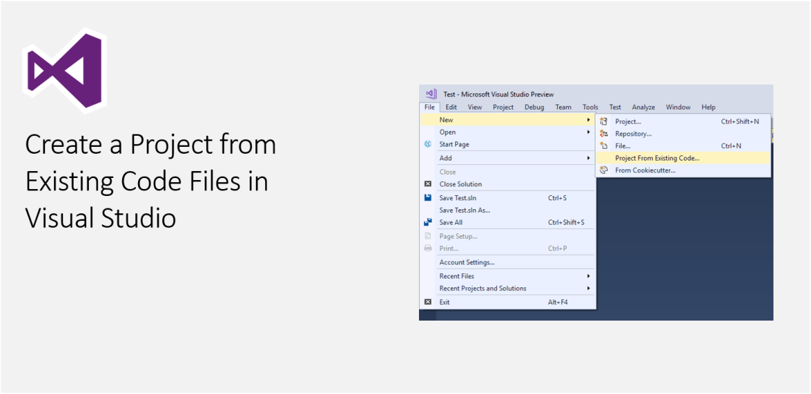 Create a Project from Existing Code Files in Visual Studio