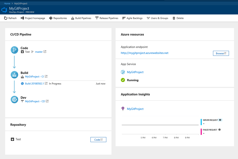 Dashboard for DevOps Project