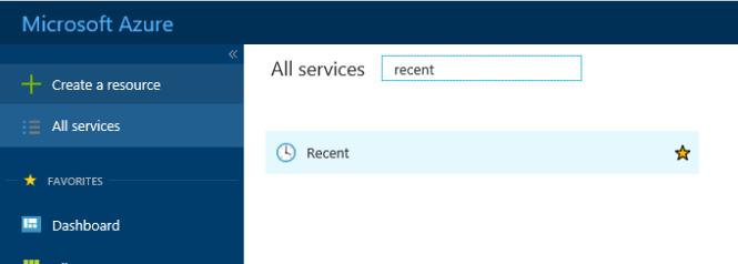 Access Azure Resources - Recent Services