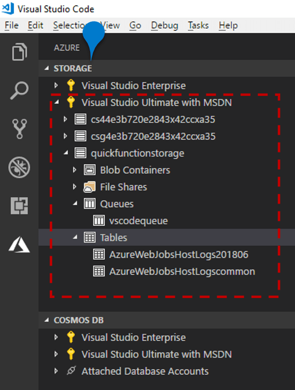 Use Azure Storage from Visual Studio Code