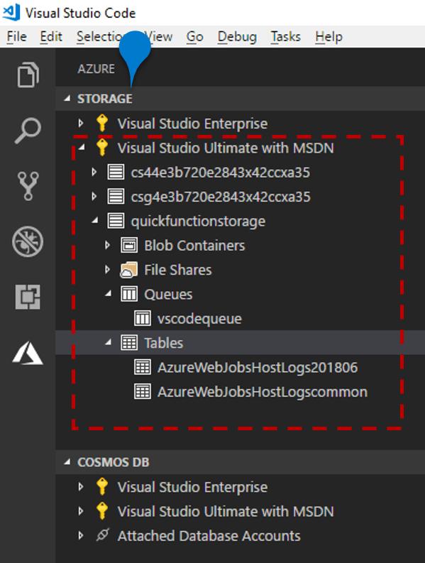Use Azure Storage from Visual Studio Code