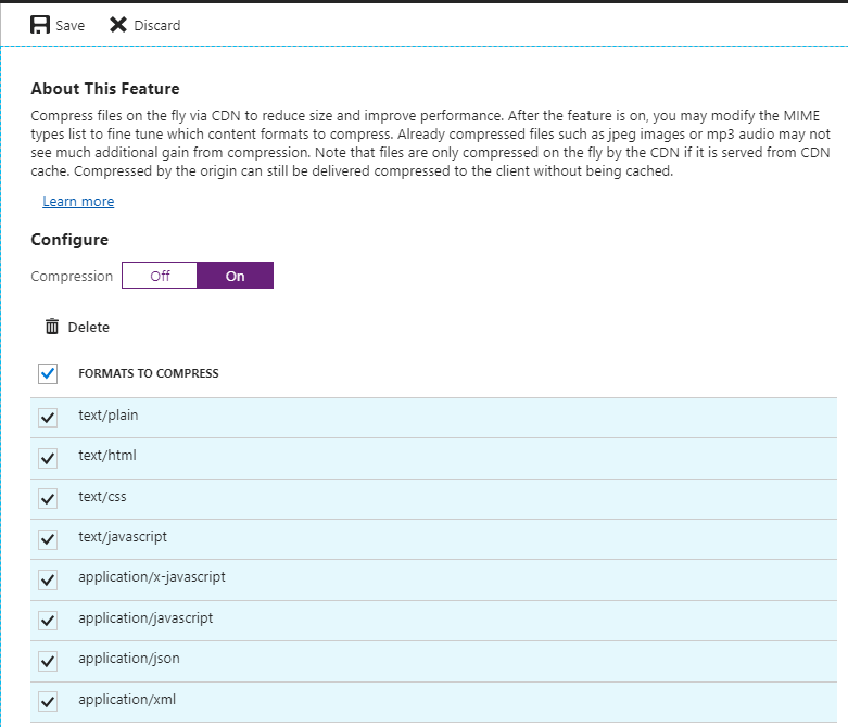 Enable Compression for Azure Content Delivery Network - Enabled