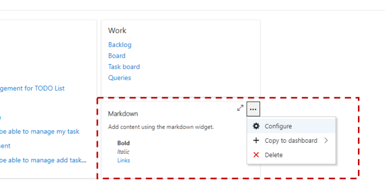 How to add custom HTML to VSTS dashboard - Configure