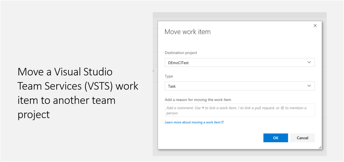 Move a VSTS work item to another team project