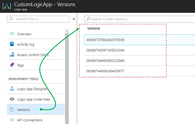 Quickly rollback Azure Logic Apps-Versions