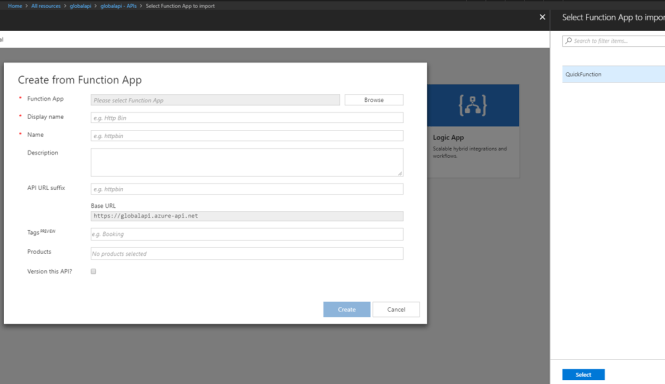 Using Azure API Management with Azure Function - Select Azure Function
